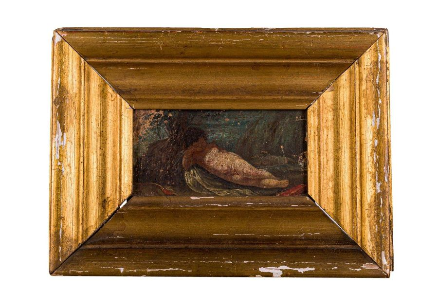 Child late 19th centuryoil painting on canvas applied on woodframed, it has pain…