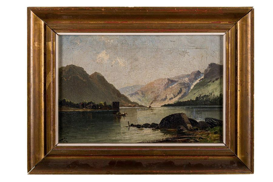 Landscape with lake and mountains 1987oil painting on canvassigned and dated, fr…