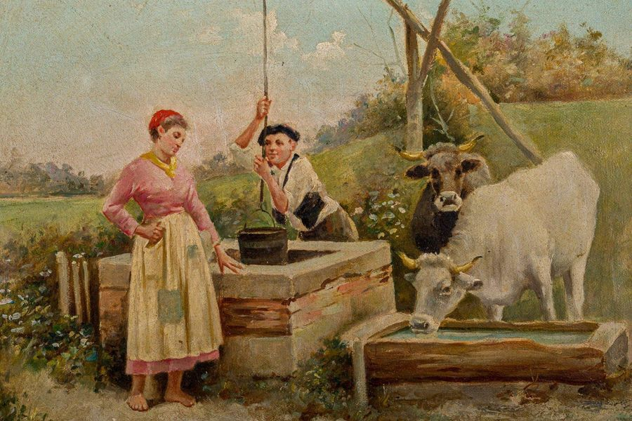 Shepherd and shepherdess late 19th centuryoil painting on canvassigned, framed23…