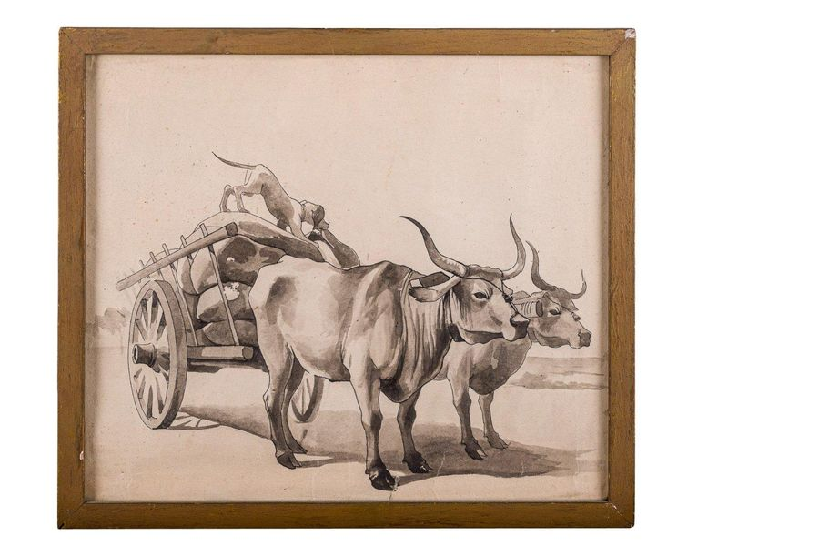 Wagon with buffalo20th centurywatercolor on paperin frame28 x 33 cm