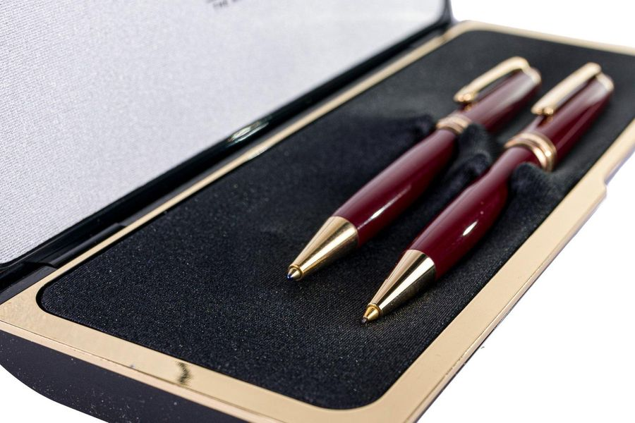 Montblanc ballpoint pen and pencil setin gilded metal and celluloid, in original…