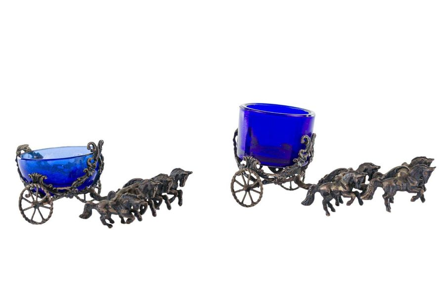 Pair of miniature silver salt shakerslike chariots, with blue glass bowls, gross…