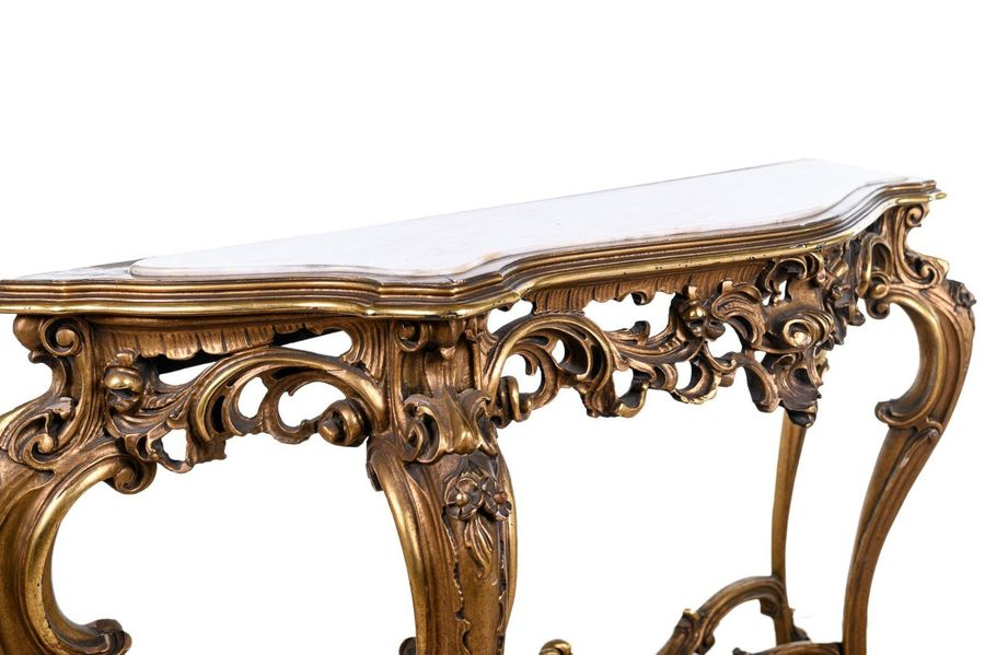 Console with mirrorTuscan manufacture, early 20th centuryin carved and gilt wood…