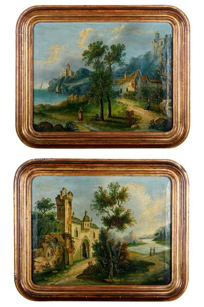 Pair of landscapes with figures late 19th centuryoil painting on canvasin a gold…
