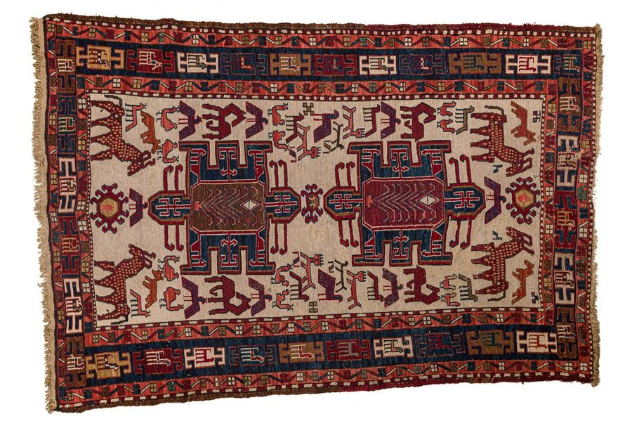 Caucasian carpet 1950swool on woolstylized geometric pattern, good condition 140…
