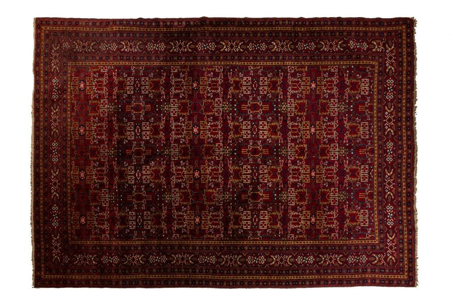 Afghan carpet late 20th centurywool on woolstylized design, excellent condition3…