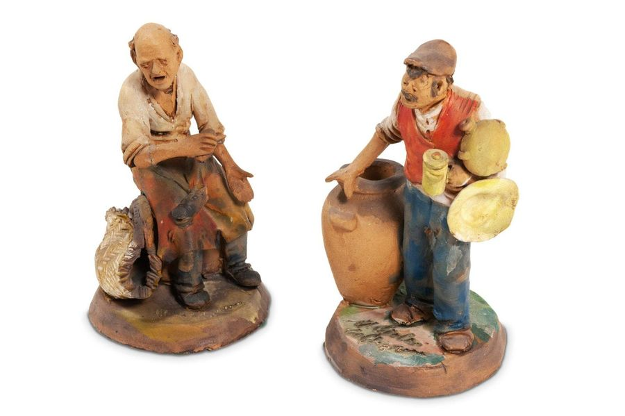 Pair of terracotta sculptures of merchantsItaly, 20th centurypainted and signed …
