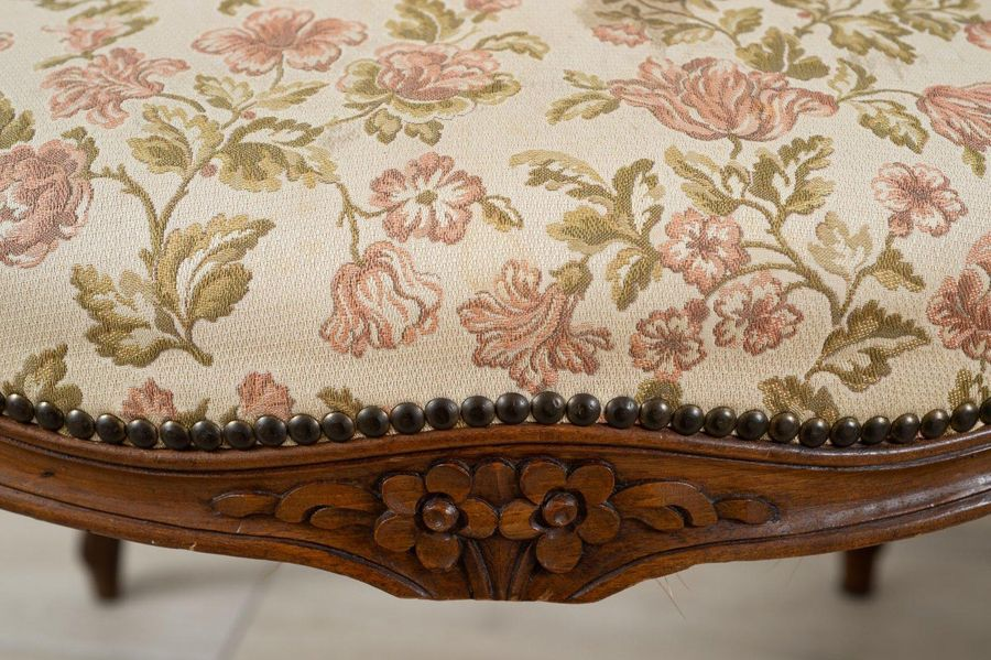 Pair of Louis XV style walnut armchairsLiberty periodclad in floral pattern fabr…