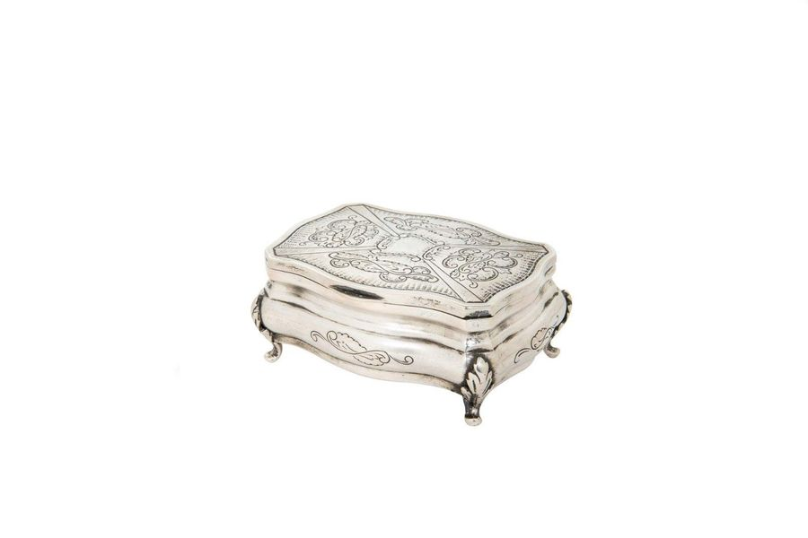 Small 800 silver box Italian manufacture, early 20th centuryrectangular shaped, …