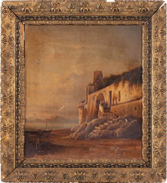 View of the coast with figures late 19th centuryoil painting on canvaspaint loss…