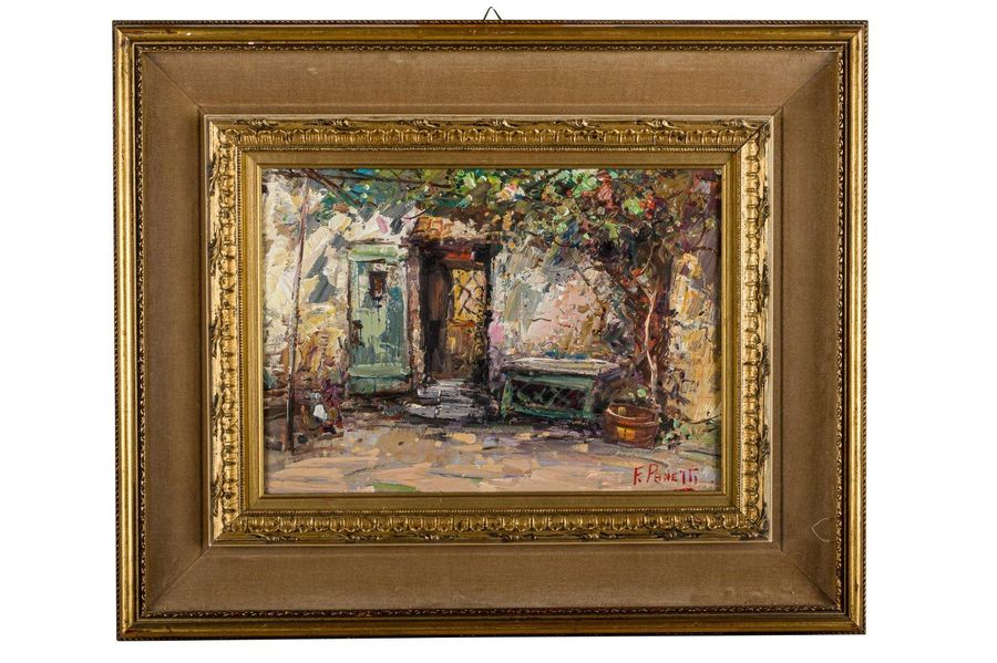 Glimpse with home20th centuryoil on boardframed, signed, from the Visconti Galle…
