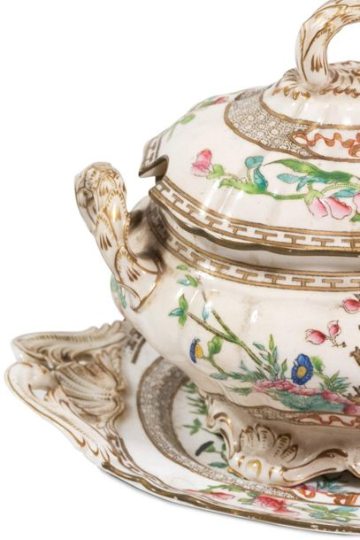 Lot of two porcelain soup tureensEngland, early 20th century one in the shape of…