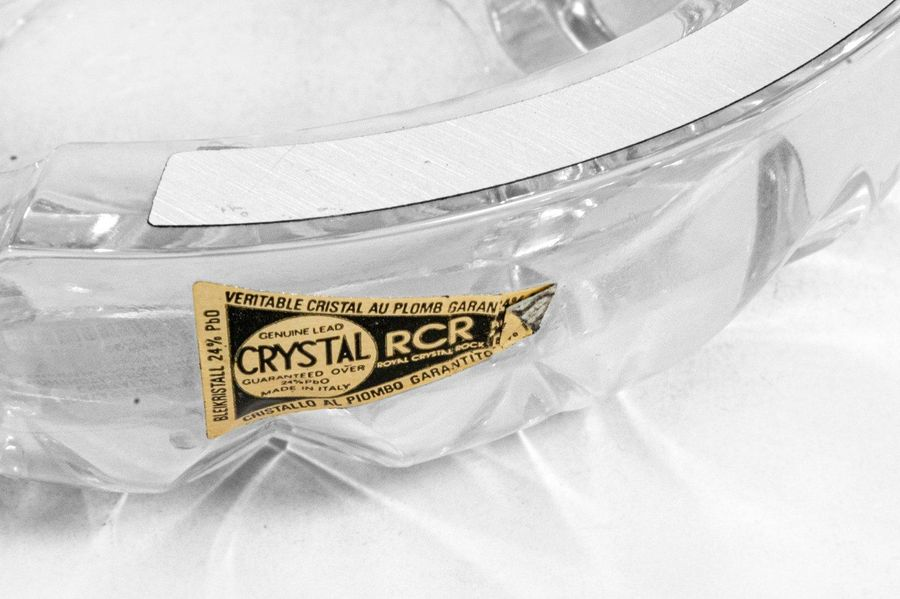 Counter cut crystal ashtray with 800 silver elements in original casediam. 15 x …