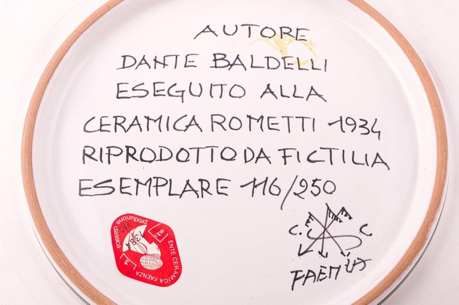 Lot of two plates in glazed ceramicItaly, contemporary manufacture reproduction …