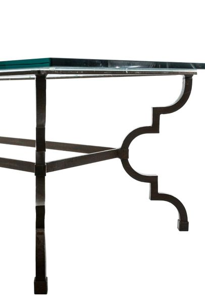 Coffee table for living room in brass with rectangular glass top43 x 140 x 70 cm