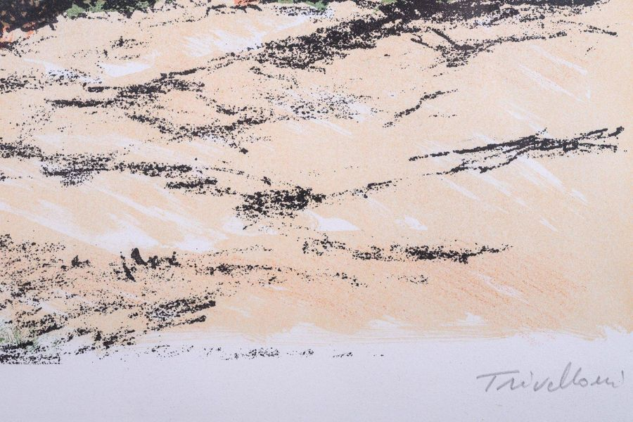 Romolo Trivelloni (1917 1974) Glimpse of the beach color lithograph on paperedit…