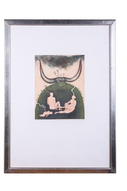 Fallout shelter lithograph on paperP.A., signed in pencil, framed75.5 x 55 cm
