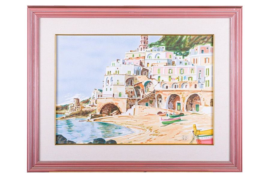Aldo Riso (1929 2008) Glimpse of the beach color lithograph on paperp.A., signed…