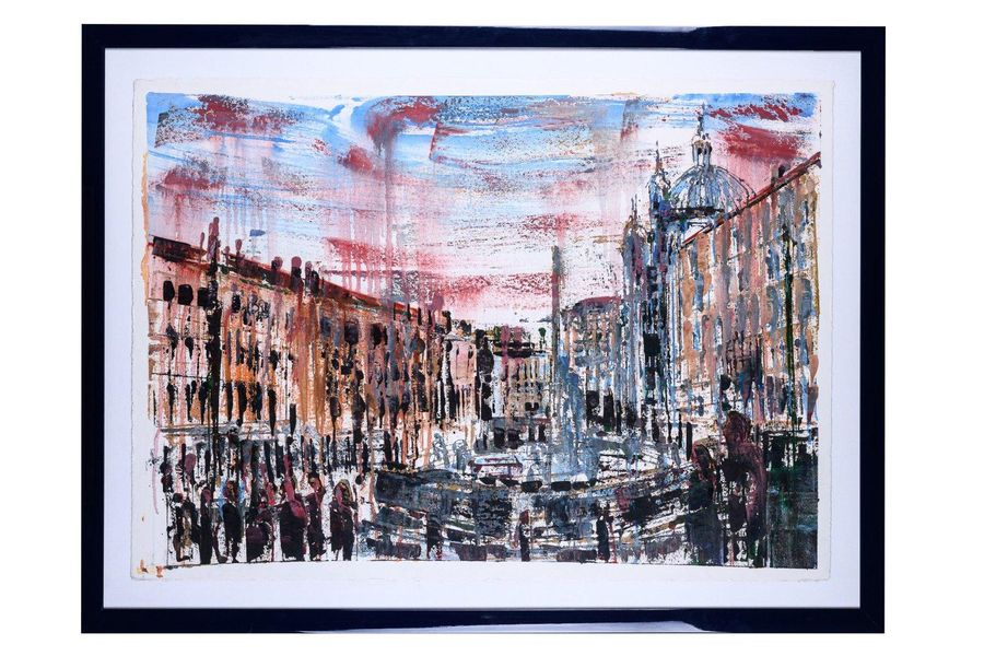 Piazza Navona20th century hand watercolored lithographsigned, framed76 x 106 cm