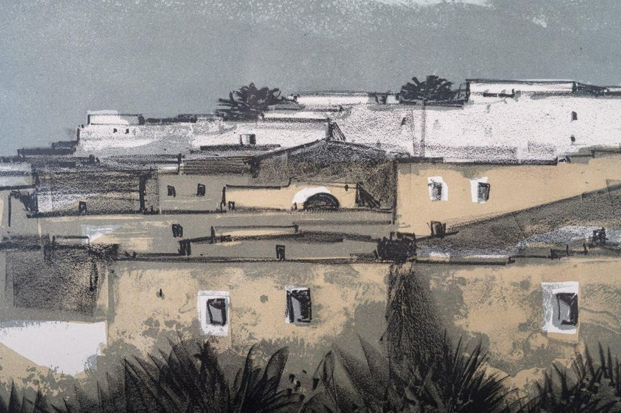 Enotrio Pugliese (1920 1989) Glimpse of houses color lithograph on paperedition …