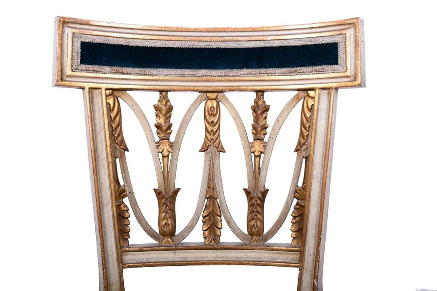Pair of Neoclassical style chairsItaly, mid 20th century In carved, lacquered an…