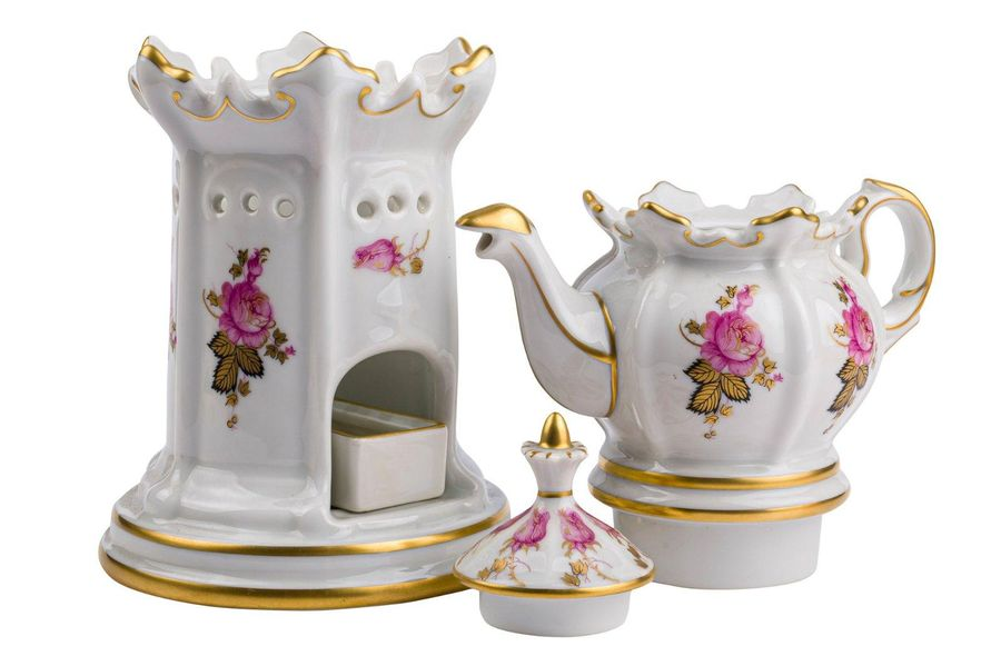 White porcelain teapot with warmer decorated with floral motifs, with golden edg…