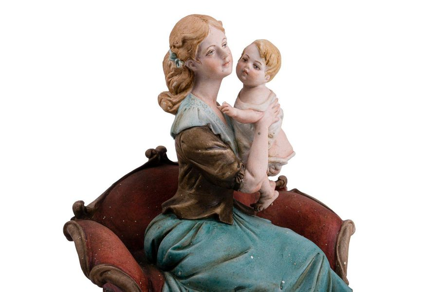 Woman with babyItalian manufacture, second half of the 20th century polychrome p…