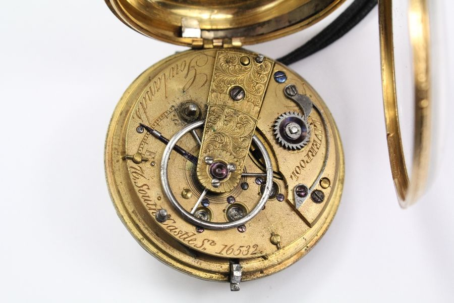 Gowlands Liverpool late 19th century gentleman's 18ct fusee open faced pocket wa…