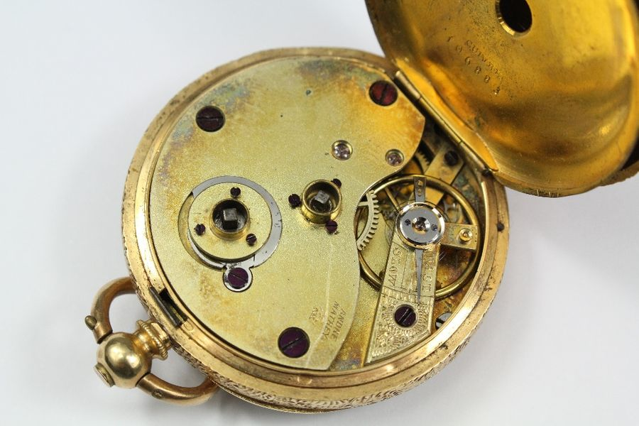 Andre Mathey Late 19th century 18ct gold open faced pocket watch, the watch havi…