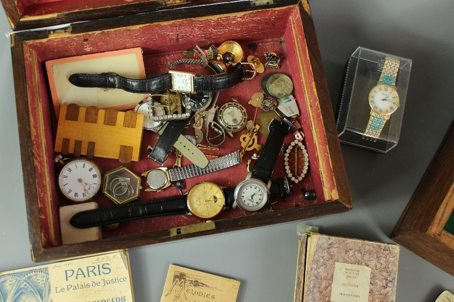 A Jewellery Box of Pocket Watches; together with costume jewellery and a box of …