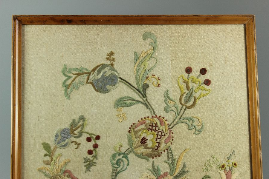 Wool Tapestry; the tapestry depicting floral design, approx 63 x 55 cms, glazed …