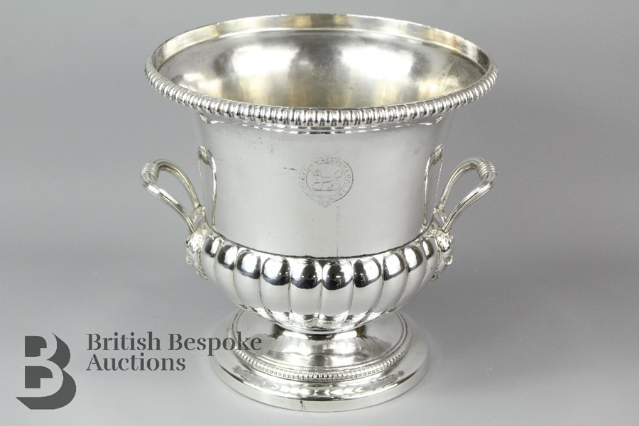 Silver plated champagne bucket, ribbed body raised on pedestal base, with ribbed…