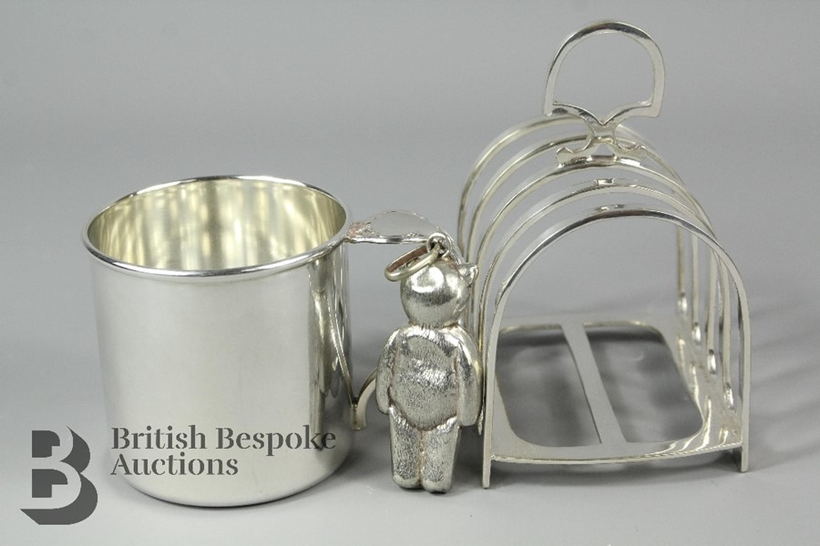 Miscellaneous silver plate, including; a silver plated toast rack, a silver plat…