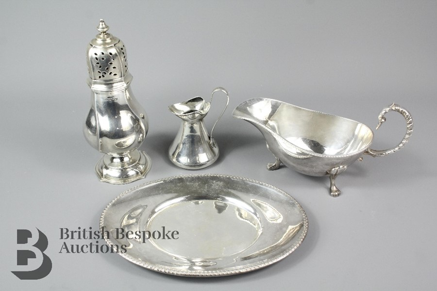 Miscellaneous silver and silver plate, including a George VI silver sugar caster…