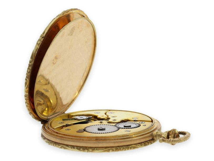 Ca. Ø48mm, ca. 64g, 14K gold, all 3 lids gold, high quality hunting case, both s…