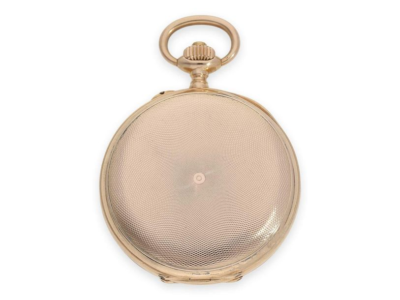 Ca. Ø51mm, ca. 96g, heavy and high quality 14K gold hunting case, engine turned,…