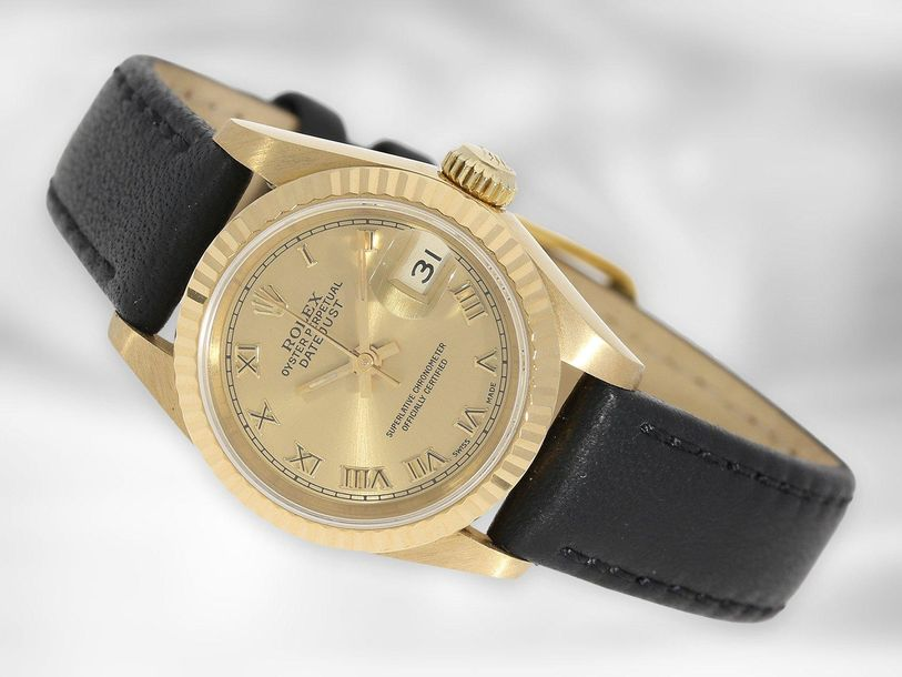Armbanduhr: luxuriöse Rolex Lady Datejust, Ref. 69178, Chronometer, E Serie, 18K…