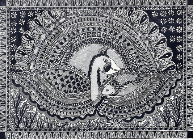 The Madhubani style of art typically jumps with lots of vibrant colors. That's w…