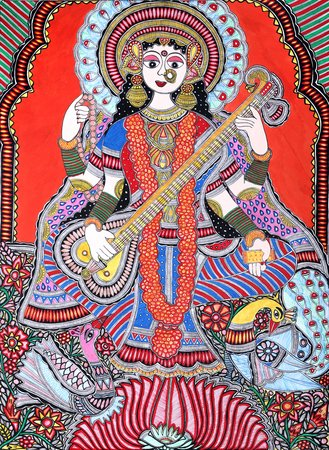 This superb portrayal of the Devi Saraswati is replete with all that makes folk …