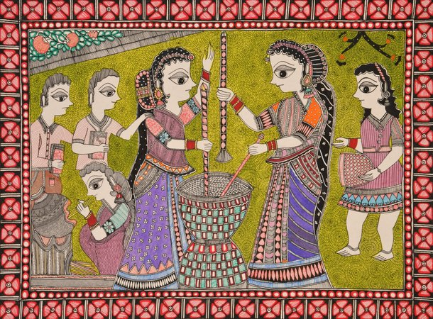 The famous artwork of Mithila region of Bihar of the Indian Subcontinent, Madhub…