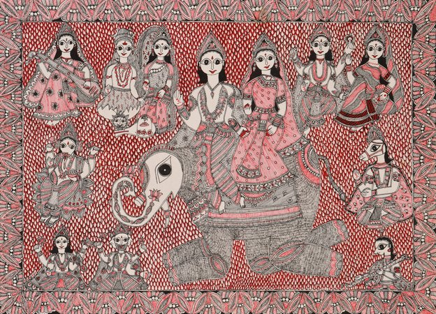 This exquisite and meticulous 28.5 inch x 20.5 inch painting by Madhubani painte…