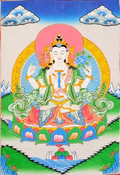 Shadakshari Lokeshvara ( Tibetan Buddhist Chenrezig) Specifications:  Tibetan Th…