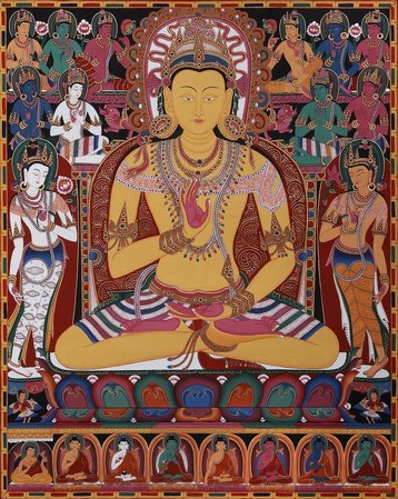The Buddha Amoghasiddhi, Surrounded By The Dhyani Buddhas (Tibetan Buddhist Broc…