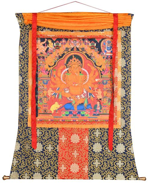 Newari Dancing Ganesha Large Size Specifications:  Tibetan Thangka Painting_x000…