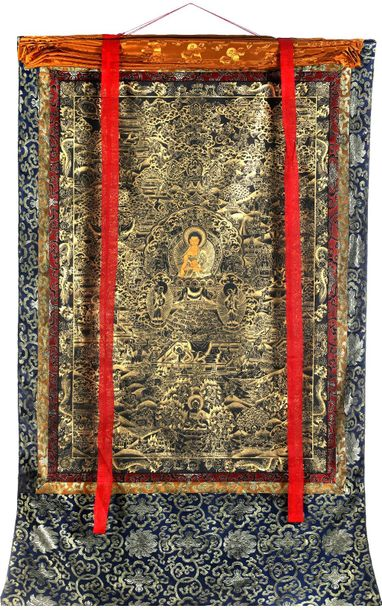 Large Size Shakyamuni Buddha and the Scenes From His Life Tibetan Buddhist Speci…