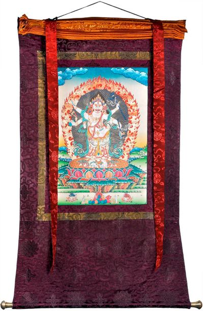 Tibetan Buddhist Six Armed White Mahakala Specifications:  Tibetan Buddhist Than…