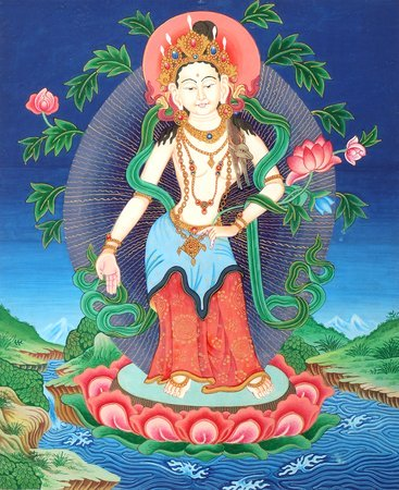 Padmapani Avalokiteshvara Tibetan Buddhist Brocadeless Thangka Specifications:  …