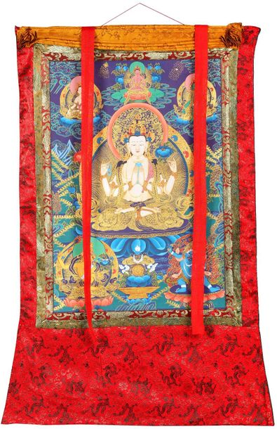 Shadakshari Lokeshvara (Tibetan Buddhist Chenrezig) Specifications:  Tibetan Tha…