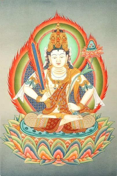 Japanese Manjushri Brocadeless Thangka Specifications:  Tibetan Thangka Painting…