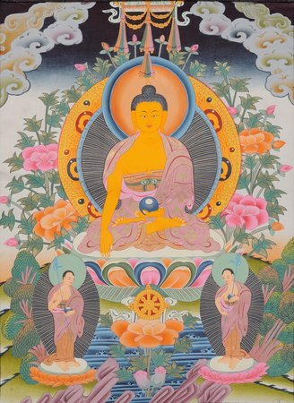 Buddha and His Two Disciples (Tibetan Buddhist ) Gautama Buddha, or the Shakyamu…